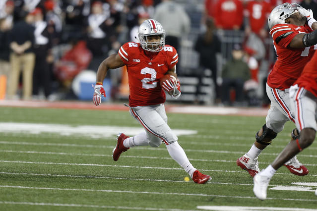 Ohio State running back J.K. Dobbins plays against Illinois during an NCAA college football game Saturday, Nov. 18, 2017, in Columbus, Ohio. (AP Photo/Jay LaPrete)