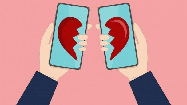 PHOTO: In this illustration, a broken heart is shown on two cell phones. (Getty Images)