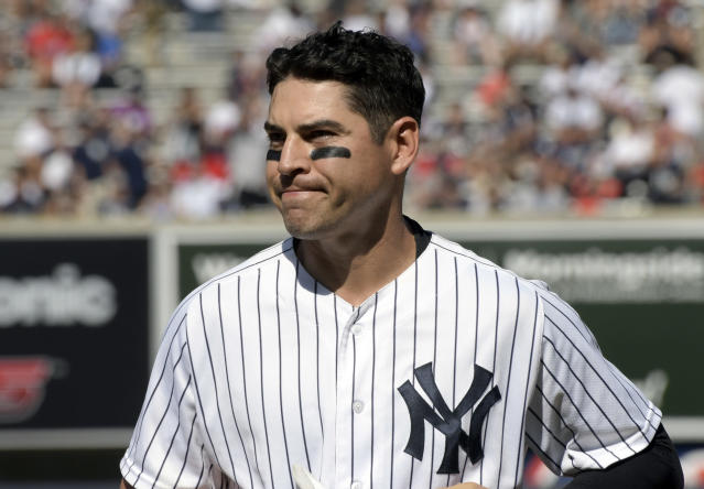 FILE - In this Aug. 30, 2017, file photo, New York Yankees' Jacoby Ellsbury reacts after grounding out to end the sixth inning in the first game of the baseball team's doubleheader against the Cleveland Indians at Yankee Stadium in New York. The Yankees have given up on Ellsbury, cutting the oft-injured outfielder with two guaranteed season and more than $26 million left in his $153 million, seven-year contract. (AP Photo/Bill Kostroun, File)