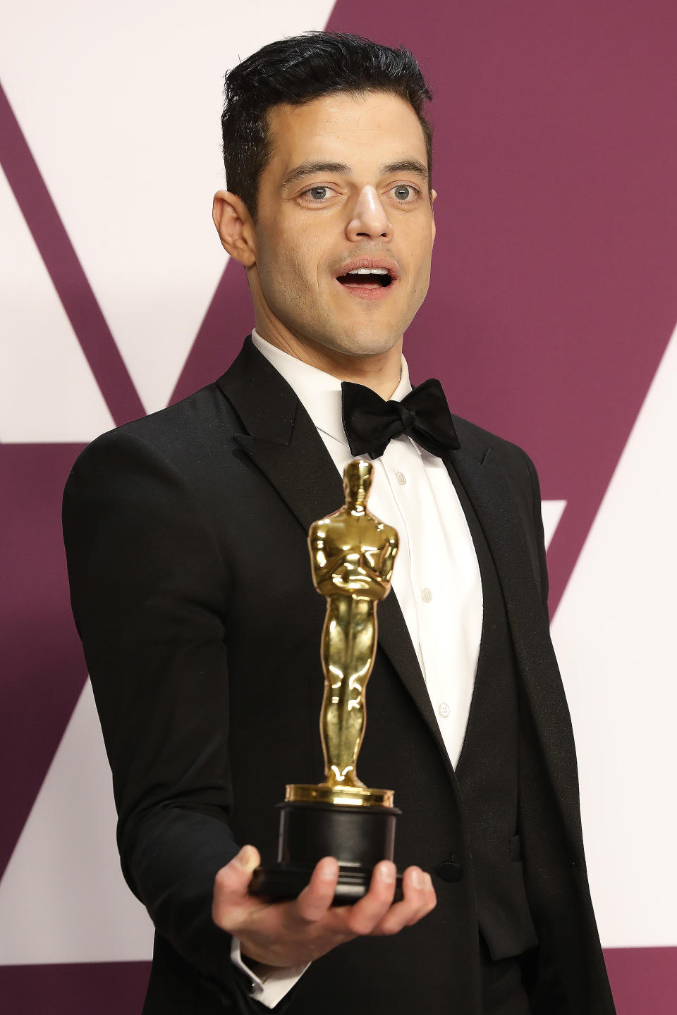 Rami Malek poses in the press room at the 91st Annual Academy Awards at the Dolby Theatre in Hollywood, California on February 24, 2019. (John Rasimus / Barcroft Media via Getty Images)