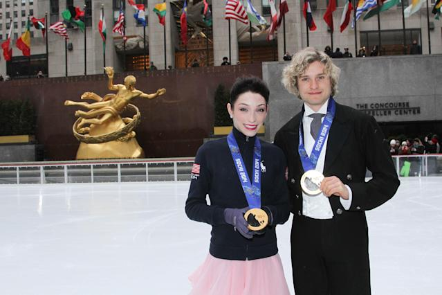 NEW YORK, NY - FEBRUARY 26: Sochi Olympic ice dancing gold medal champions Meryl Davis and Charlie White performs at The Rink at Rockefeller Center on February 26, 2014 in New York, United States. (Photo by Rob Kim/Getty Images)