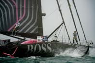 British skipper Alex Thomson gets ready to set sail at the start of the Vendee Globe