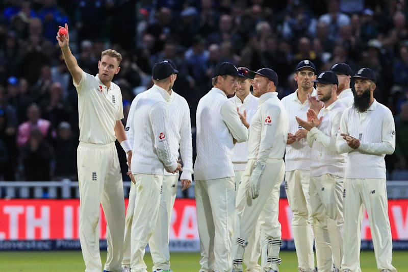 Broad celebrates becoming the second-highest wicket-taker for England: AFP/Getty Images