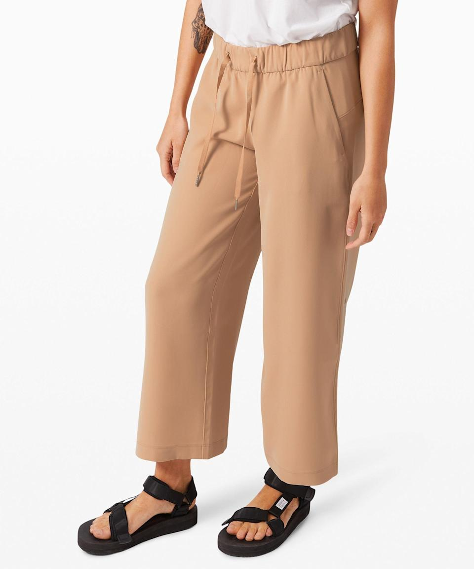 """<p><strong>Lululemon</strong></p><p>lululemon.com</p><p><a href=""""https://go.redirectingat.com?id=74968X1596630&url=https%3A%2F%2Fshop.lululemon.com%2Fp%2Fsale%2FOn-The-Fly-Pant-Wide-Leg-78-MD%2F_%2Fprod9610124&sref=https%3A%2F%2Fwww.seventeen.com%2Ffashion%2Fg34017122%2Flululemon-sale-we-made-too-much%2F"""" rel=""""nofollow noopener"""" target=""""_blank"""" data-ylk=""""slk:Shop Now"""" class=""""link rapid-noclick-resp"""">Shop Now</a></p><p><strong><del>$118</del> $59-$79 (53-37% off)</strong></p><p>With a wide-leg silhouette and selection of versatile colors, these cozy pants are a stylish alternative to your favorite sweats.</p>"""