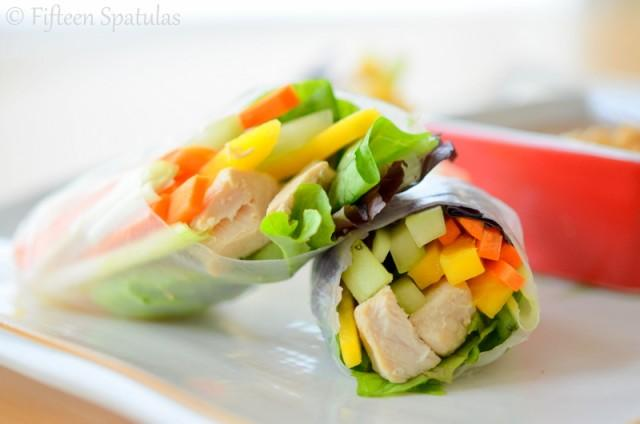 """Photo: Fifteen Spatulas<br> Fresh Spring Rolls<br><br> Winter, spring, summer, or fall, fresh spring rolls like these from Joanne at Fifteen Spatulas never fail to get our motors running. Peanut dipping sauce doesn't hurt!<br><br> Recipe: <a href=""""http://www.fifteenspatulas.com/fresh-spring-rolls-with-peanut-dipping-sauce/#"""" rel=""""nofollow noopener"""" target=""""_blank"""" data-ylk=""""slk:Fresh Spring Rolls with Peanut Dipping Sauce"""" class=""""link rapid-noclick-resp"""">Fresh Spring Rolls with Peanut Dipping Sauce</a><br>"""