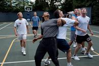 <p>Barack Obama plays with members of his cabinet and Congressmen on the White House basketball court in 2009.</p>