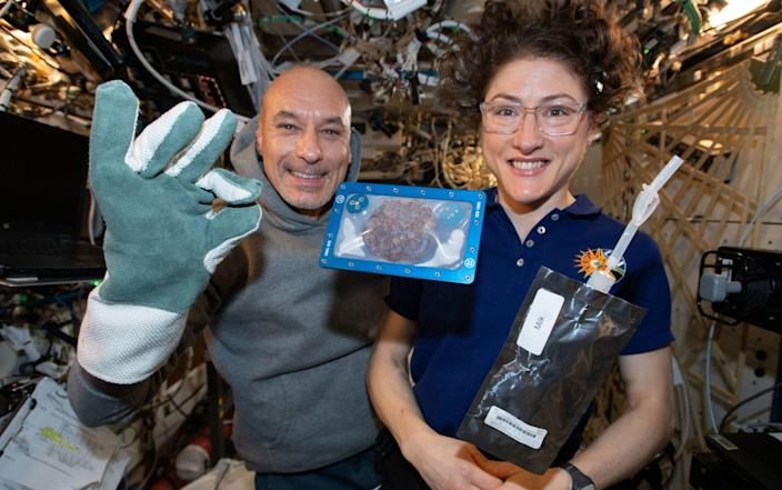 ISS commander Luca Parmitano and astronaut Christina Koch with milk and cookies on board the International Space Station (ISS) in 2019 as chocolate chip cookies have become the first food to be baked in space. PA Photo. Issue date: Thursday January 23, 2020. See PA story SCIENCE Cookies. Photo credit should read: NASA/PA Wire NOTE TO EDITORS: This handout photo may only be used in for editorial reporting purposes for the contemporaneous illustration of events, things or the people in the image or facts mentioned in the caption. Reuse of the picture may require further permission from the copyright holder. - PA/PA