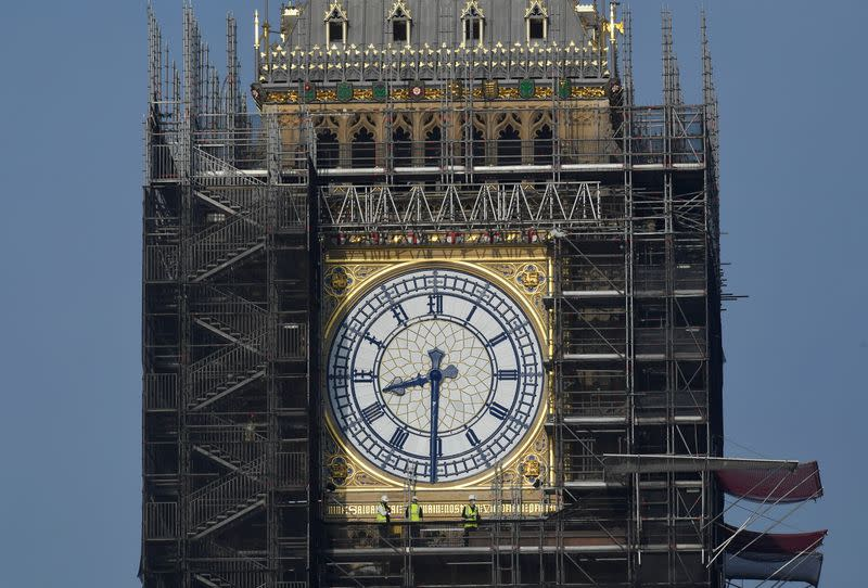 Big Ben clock hands restored to original blue colour as renovations continue at the Houses of Parliament, London