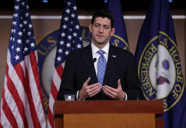 Speaker of the House Paul Ryan delivers a weekly news briefing on May 25 on Capitol Hill. (Photo: Alex Wong/Getty Images)