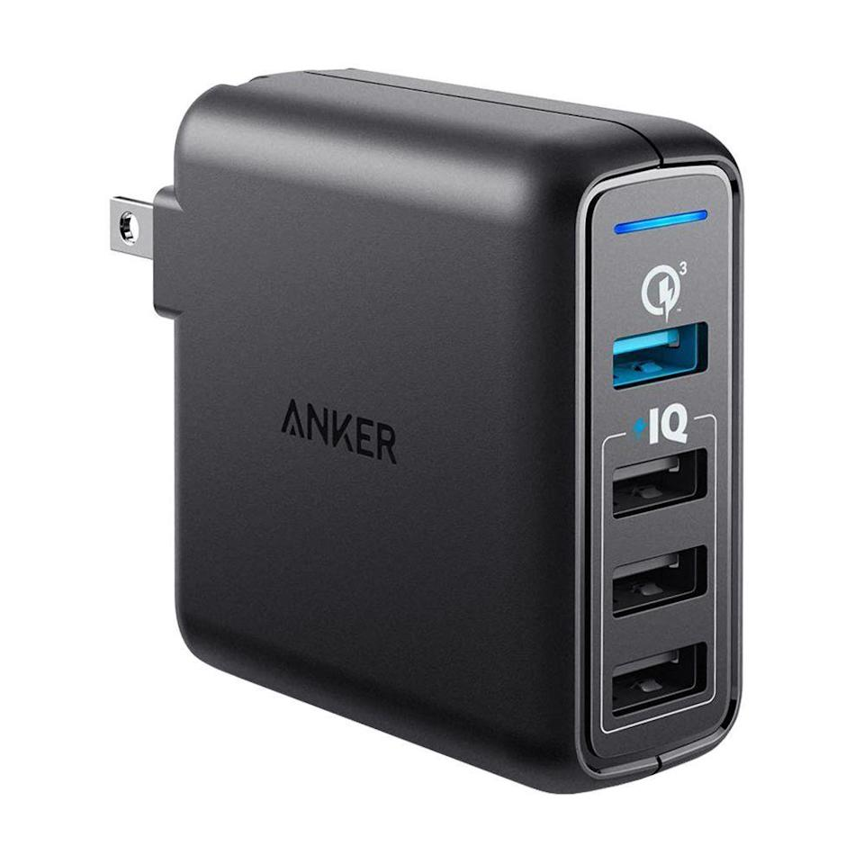 """<p><strong>Anker</strong></p><p>amazon.com</p><p><strong>$27.99</strong></p><p><a href=""""https://www.amazon.com/dp/B01N2HIR9R?tag=syn-yahoo-20&ascsubtag=%5Bartid%7C2089.g.1219%5Bsrc%7Cyahoo-us"""" rel=""""nofollow noopener"""" target=""""_blank"""" data-ylk=""""slk:Shop Now"""" class=""""link rapid-noclick-resp"""">Shop Now</a></p><p>Odds are, you probably have multiple gadgets that need recharging. Why not charge them all simultaneously with this nifty adapter from Anker? It pushes out 43.5 watts of power — that's three times more than the iPhone's included adapter. Plus, it supports Qualcomm Quick Charge 3.0, so all your devices charge much faster. It's worth mentioning that this option does <em>not</em> have any USB-C ports.</p><p>It's still small enough to toss into a bag, and it'll make you everyone's best friend at the airport ... if you're willing to share!<br></p>"""