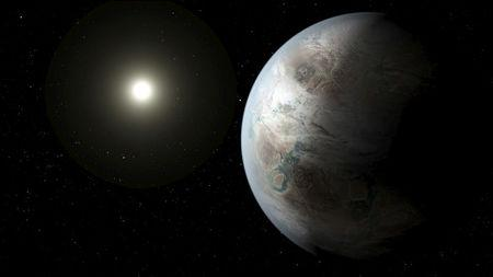 FILE PHOTO:  An artist's concept depicts one possible appearance of the planet Kepler-452b, the first near-Earth-size world to be found in the habitable zone of star that is similar to our sun in this NASA image released on July 23, 2015. NASA/Ames/JPL-Caltech/T. Pyle/Handout via Reuters/File Photo
