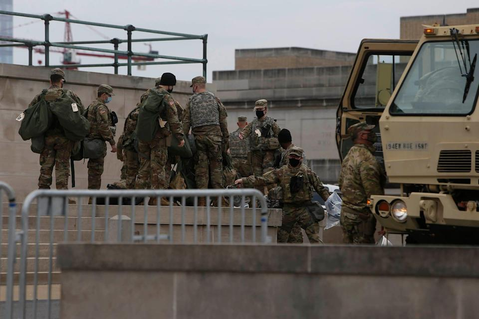 Troops prepare for potential unrest at the Tennessee State Capitol in Nashville on Sunday, Jan. 17, 2021.