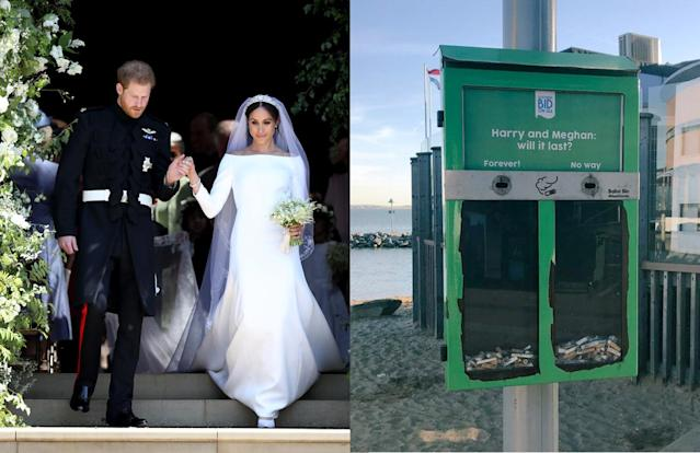 A controversial cigarette trash bin in the U.K. invites smokers to vote on whether they think the marriage of Prince Harry and Meghan Markle will last. (Photo: Getty Images/Twitter, MeghanMaven)