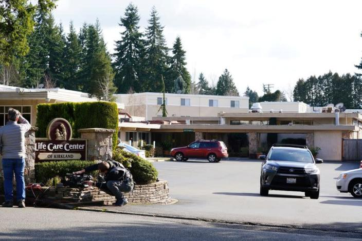 A general view of the Life Care Center of Kirkland where a number of seniors are at risk of novel coronavirus in Kirkland