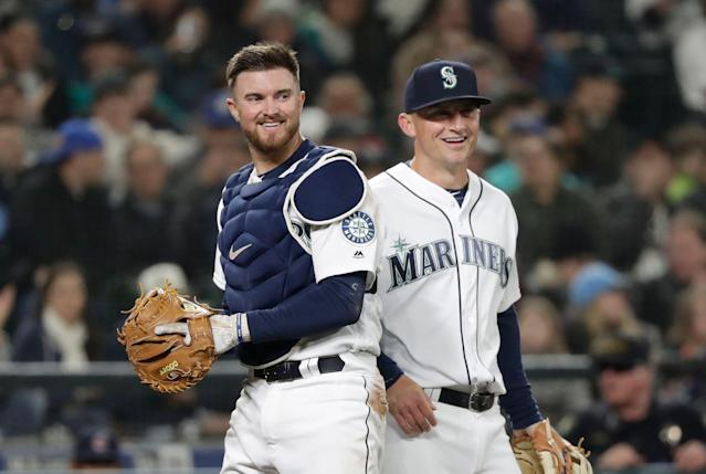 Mike Marjama, left, was suspended 80 games by MLB on Thursday, but it was a rather unique suspension. (AP Photo/Elaine Thompson)