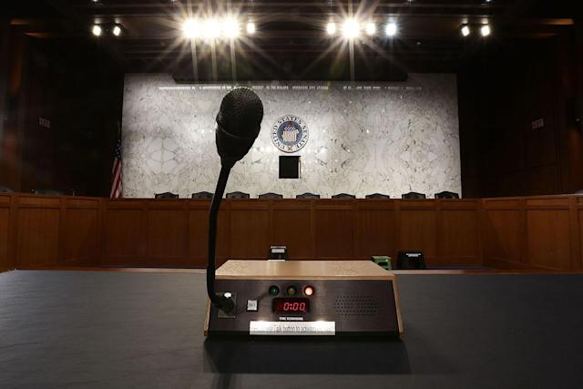 <p>A microphone is placed on the witness table for a hearing U.S. Attorney General Jeff Sessions will testify before the Senate Select Committee on Intelligence June 13, 2017 on Capitol Hill in Washington, D.C. (Photo: Alex Wong/Getty Images) </p>
