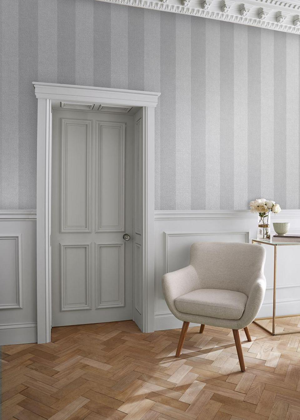 """<p>Stripes never fail to please and are a timeless choice. Stripes work well in all rooms but are particularly good if you have low living room ceilings as they give the illusion of making the room look taller.<br></p><p>Top Tip: Stripes look good teamed with panelling and if you are yearning for the <a href=""""https://www.housebeautiful.com/uk/decorate/looks/g35211288/bridgerton-regencycore-homeware/"""" rel=""""nofollow noopener"""" target=""""_blank"""" data-ylk=""""slk:Bridgerton"""" class=""""link rapid-noclick-resp"""">Bridgerton</a> look, they aren't called a Regency Stripe for nothing!</p><p>Pictured: Heritage Stripe in Grey, <a href=""""https://www.grahambrown.com/uk/heritage-stripe-grey-wallpaper/107590-master.html"""" rel=""""nofollow noopener"""" target=""""_blank"""" data-ylk=""""slk:Graham & Brown"""" class=""""link rapid-noclick-resp"""">Graham & Brown</a></p>"""