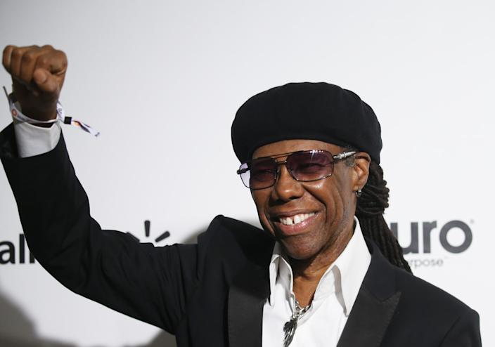 Nile Rodgers at the Annual Elton John AIDS Foundation Academy Awards February 9, 2020 (Photo by MICHAEL TRAN/AFP via Getty Images)