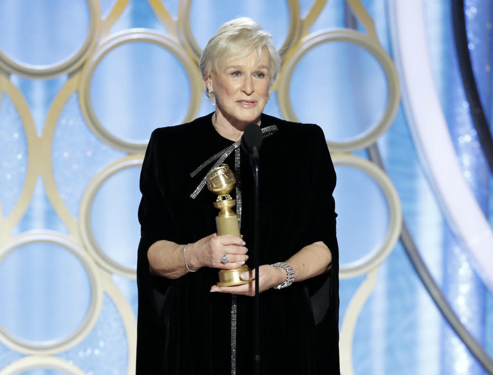"""Glenn Close accepts the award for best actress in a drama film for her role in """"The Wife"""" during the 76th Annual Golden Globe Awards at the Beverly Hilton Hotel on Sunday, Jan. 6, 2019, in Beverly Hills, Calif. (Paul Drinkwater/NBC via AP)"""