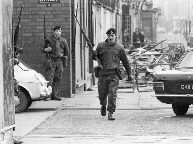 Armed British soldiers patrolling the streets of Belfast during the Official IRA's unconditional ceasefire in 1972: Getty