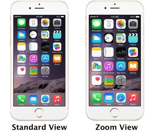 iPhone 6 Plus showing Standard View and Zoom View