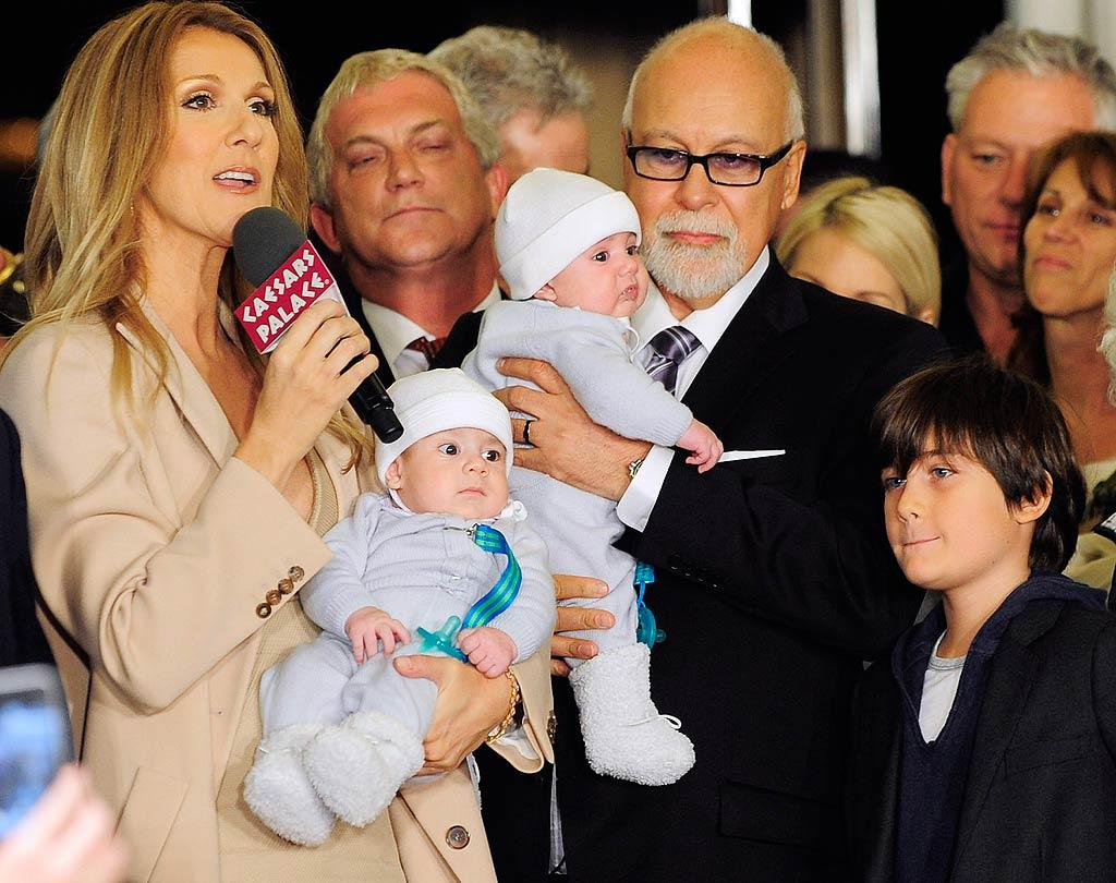 Celine Dion, her husband Rene Angelil, their 10-year-old son Rene-Charles, and their new twin babies Nelson and Eddy, received a warm welcome in February as she returned to Caesars Palace in Las Vegas for a three-year run at the Colosseum. (02/17/2011)