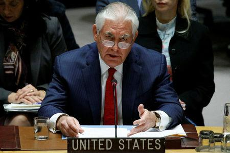U.S. Secretary of State Rex Tillerson speaks during a United Nations Security Council meeting, to discuss a North Korean missile program, at the United Nations headquarters in New York