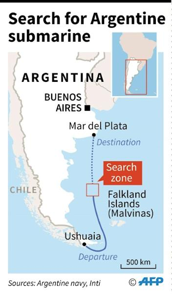 Map of the search zone in the South Atlantic where an international team is hunting for a missing Argentine submarine