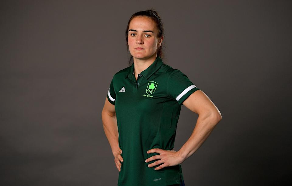 Dublin , Ireland - 29 June 2021; Lightweight Kellie Harrington during a Tokyo 2020 Team Ireland Announcement for Boxing in the Sport Ireland Institute at the Sports Ireland Campus in Dublin.  (Photo By Brendan Moran/Sportsfile via Getty Images)