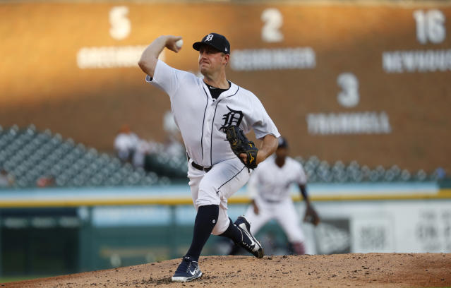 Detroit Tigers pitcher Jordan Zimmermann throws against the Houston Astros in the second inning of a baseball game against the Detroit Tigers in Detroit, Tuesday, Sept. 11, 2018. (AP Photo/Paul Sancya)