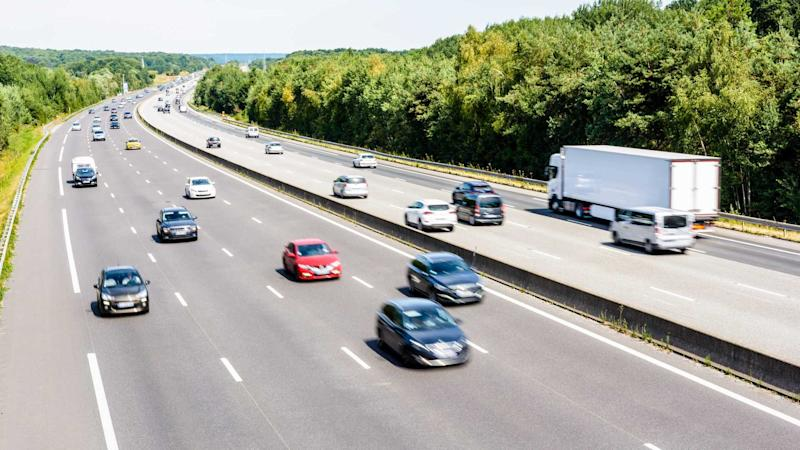 Traffic on the eight lane A10 highway in France
