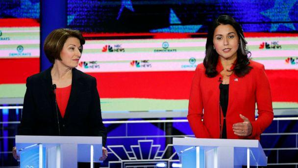 PHOTO: Amy Klobuchar and Tulsi Gabbard participate in the first Democratic primary debate hosted by NBC News at the Adrienne Arsht Center for the Performing Arts in Miami, Florida, June 26, 2019. (Wilfredo Lee/AP)