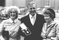 Sir David Attenborough was knighted by the Queen in 1985 at an investiture at Buckingham Palace, London, with his wife Jane (right) and daughter Susan. (PA Images)