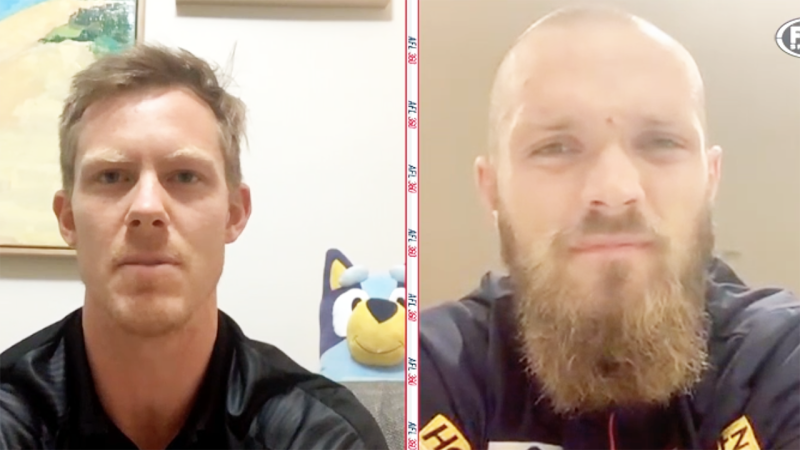 Jack Riewoldt and Max Gawn are pictured during their appearance on AFL 360.