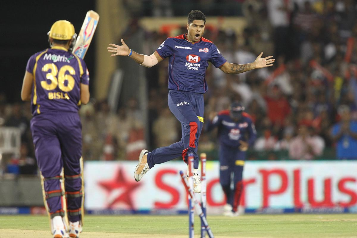 Umesh Yadav of Delhi Daredevils celebrates after bowling Manvinder Bisla of Kolkata Knight Riders during match 44 of the Pepsi Indian Premier League between The Delhi Daredevils and the Kolkata Knight Riders held at the Chhattisgarh International Cricket Stadium in Raipur on the 1st May 2013..Photo by Shaun Roy-IPL-SPORTZPICS .. .Use of this image is subject to the terms and conditions as outlined by the BCCI. These terms can be found by following this link:..https://ec.yimg.com/ec?url=http%3a%2f%2fwww.sportzpics.co.za%2fimage%2fI0000SoRagM2cIEc&t=1498647446&sig=k3nk1xKEFLZe.g2lDyvH2g--~C