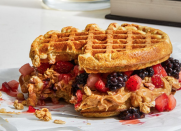 <p>Who says you can't eat waffles for dinner?</p><p>What You'll Need:<br>2 high-protein freezer waffles (such as Kodiak)<br>2 Tbsp crunchy peanut butter<br>1/3 cup mixed strawberries and blackberries, chopped<br>2 Tbsp high-protein granola (such as Nature Valley)</p><p>How to Make It:</p><p>Toast the waffles according to package directions. While they're warm, spread the peanut butter over one waffle. Top with the berries, granola, and other waffle. Let cool before wrapping in foil. Smush before eating. Makes 1 sandwich</p>