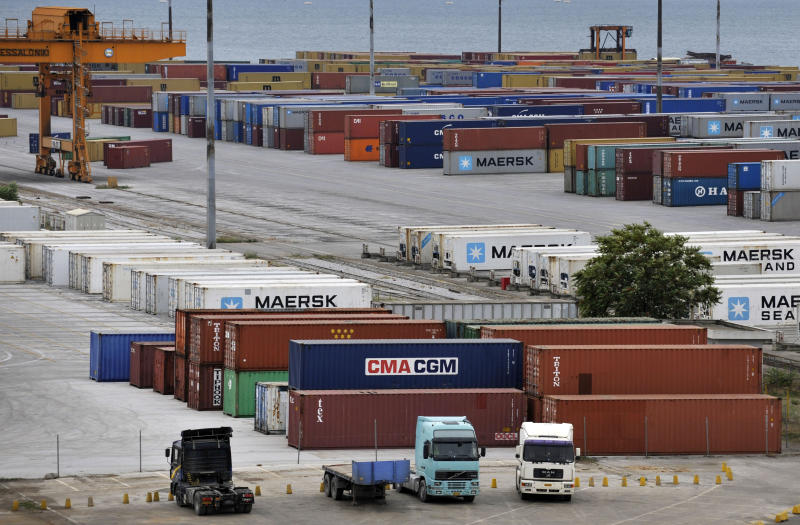 Freight containers are lined up during the first day of a 10 day-strike by customs officers in the  port of the northern Greek city of Thessaloniki, Friday, Oct. 14, 2011. The government has been imposing repeated rounds of austerity measures as it struggles to meet the requirements to qualify for funds from a euro110 billion ($151 billion) international bailout loan that is preventing it from defaulting on its debts. Its international debt inspectors have said the country will likely receive the next euro8 billion installment of the loans in early November. (AP Photo/Nikolas Giakoumidis)