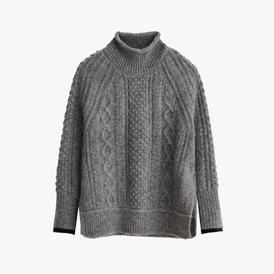 "$155, ALEX MILL. <a href=""https://www.alexmill.com/collections/sweatshirts-sweaters-womens/products/camil-cable-sweater-in-heather-grey"" rel=""nofollow noopener"" target=""_blank"" data-ylk=""slk:Get it now!"" class=""link rapid-noclick-resp"">Get it now!</a>"