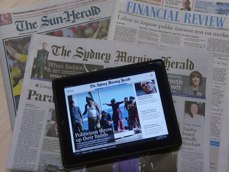 Newspaper sales fall in December quarter