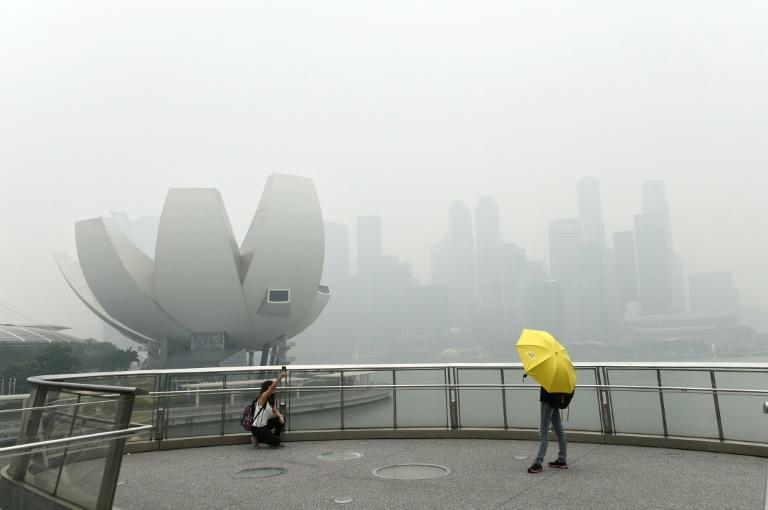"A tourist (left) takes a ""selfie"" on a bridge overlooking the Singapore skyline choked with smog on September 29, 2015"