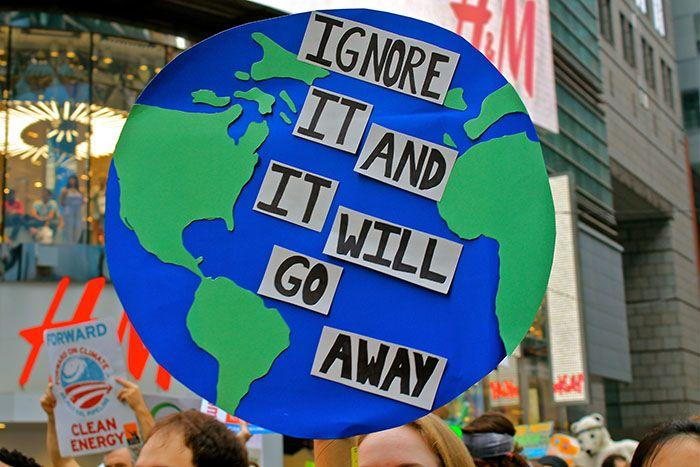 A protester's sign at the People's Climate March in New York City. Photo: Getty