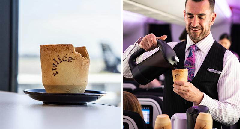 Air New Zealand is trialling edible coffee cups. [Photo: PA]