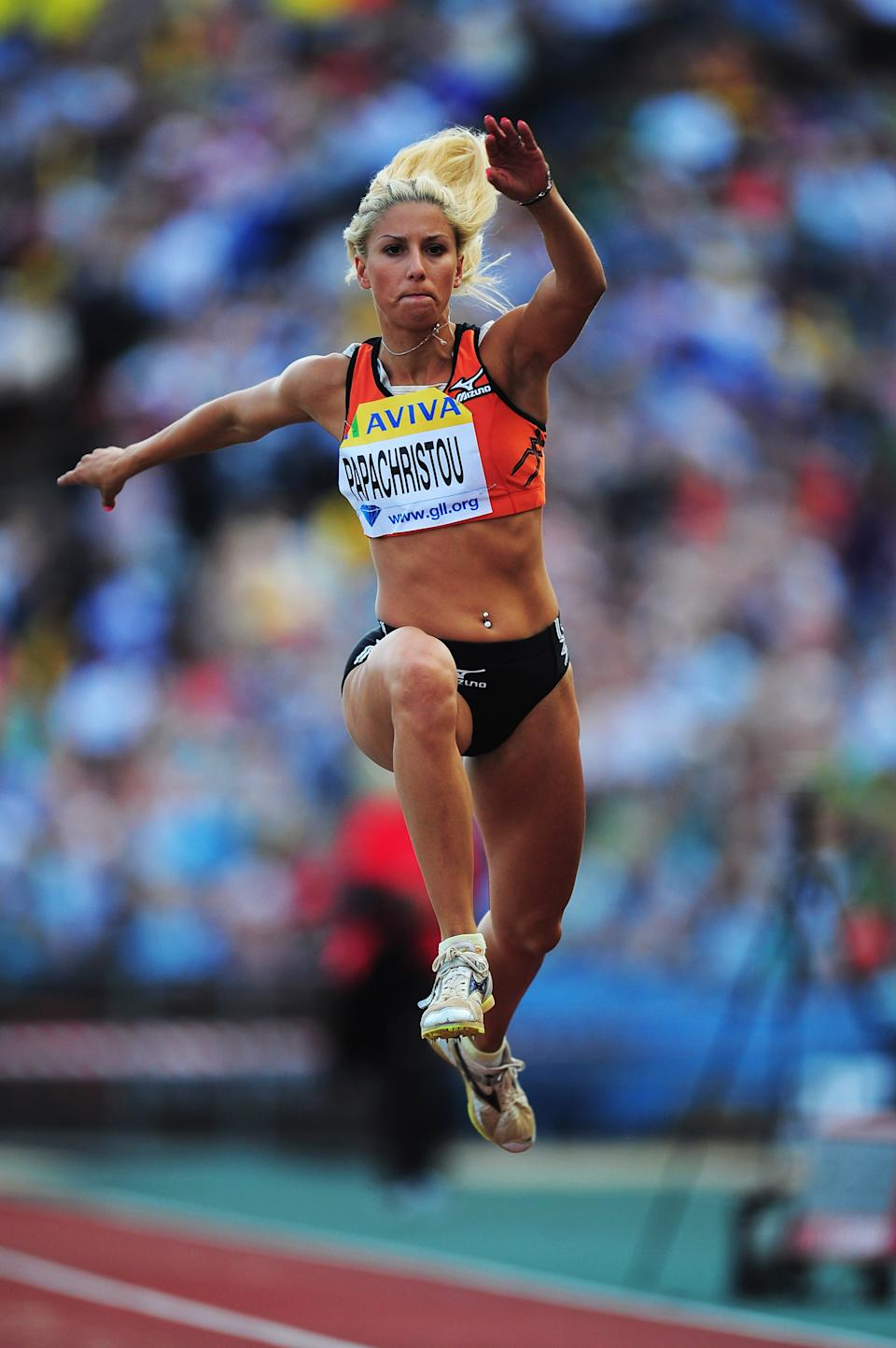 Paraskevi Papachristou of Greece competes in the Womens Triple Jump during the Aviva London Grand Prix at Crystal Palace on August 5, 2011 in London, England. (Photo by Stu Forster/Getty Images)