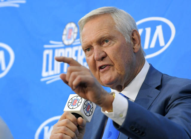 "Jerry West, now working for the <a class=""link rapid-noclick-resp"" href=""/nba/teams/lac"" data-ylk=""slk:Clippers"">Clippers</a>, went out of his way to downplay the <a class=""link rapid-noclick-resp"" href=""/nba/teams/lal"" data-ylk=""slk:Lakers"">Lakers</a> landing <a class=""link rapid-noclick-resp"" href=""/nba/players/3704/"" data-ylk=""slk:LeBron James"">LeBron James</a>. (AP)"