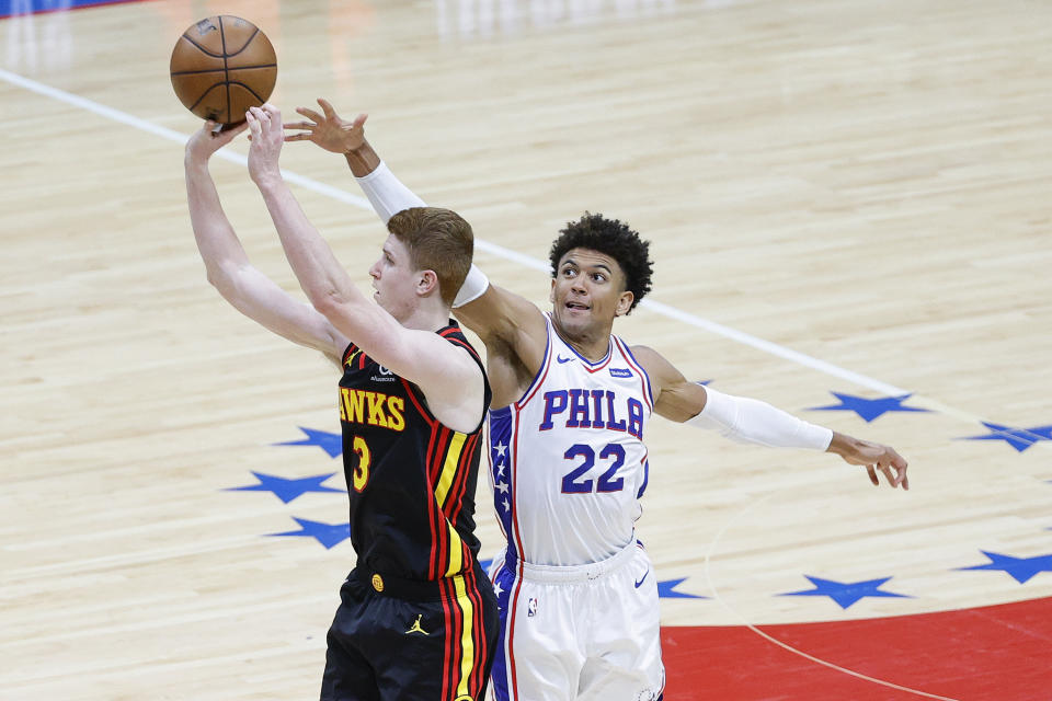 Kevin Huerter helped the Hawks get by the 76ers in a seven-game second-round series. (Photo by Tim Nwachukwu/Getty Images)