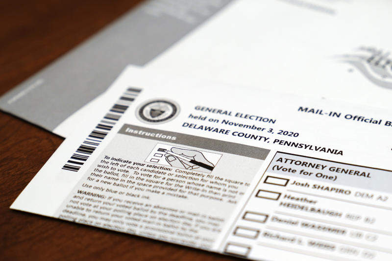 A mail-in official ballot for the 2020 General Election in the United States is shown, Tuesday, Oct. 13, 2020, in Marple Township, Pa. (AP Photo/Matt Slocum)