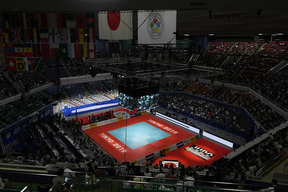 This picture taken on August 31, 2019 shows a general view during the Judo World Championships at the Nippon Budokan, which will be a venue for the Tokyo 2020 Olympic Games. (Photo by CHARLY TRIBALLEAU / AFP)        (Photo credit should read CHARLY TRIBALLEAU/AFP via Getty Images)