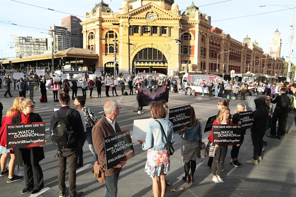 Vegan protesters have stopped traffic in Melbourne's CBD. Source: AAP