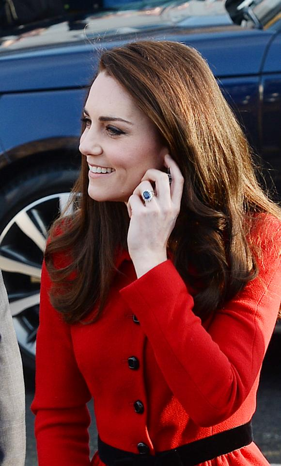 <p>Kate's sapphire and diamond engagement ring – that once belonged to Diana – would cost around £300,000 to make today. If sold at auction, the piece would fetch ten times that amount.<br /><i>[Photo: PA]</i> </p>