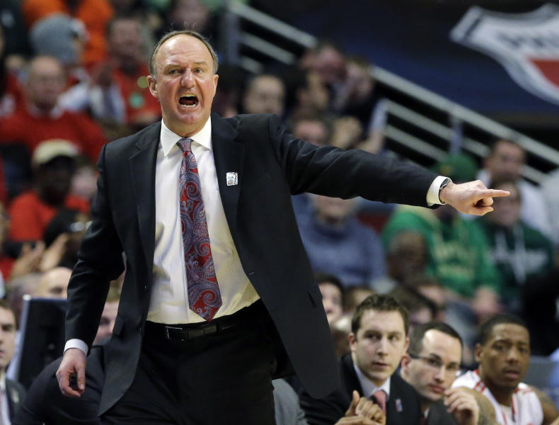 Ohio State head coach Thad Matta reacts during the first half of an NCAA college basketball game against Michigan State at the Big Ten tournament Saturday, March 16, 2013, in Chicago. (AP Photo/Nam Y. Huh)